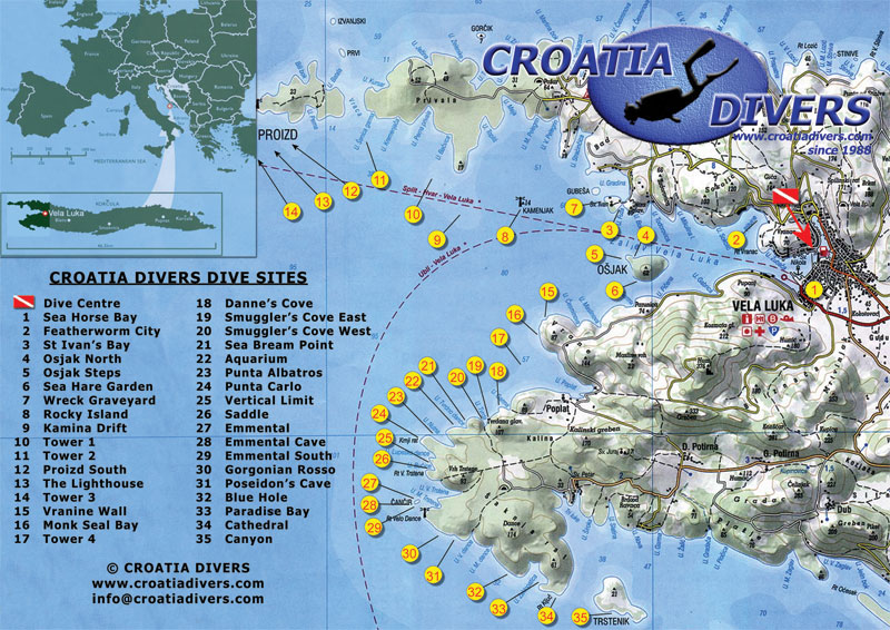 An overview & site maps of the best diving sites in Croatia