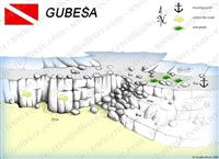 Croatia Divers - Dive Site Map of Gubesa