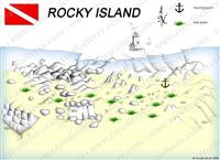 Croatia Divers - Dive Site Map of Rocky Island