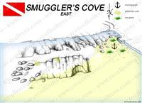 Croatia Divers - Dive Site Map of Smuggler's Cove East