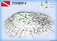 Croatia Divers - Dive Site Map of Tower 4